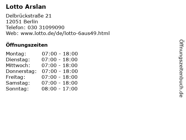 Lotto Arslan in Berlin: Adresse und Öffnungszeiten