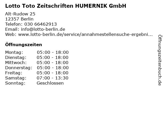 Lotto Toto Zeitschriften HUMERNIK GmbH in Berlin: Adresse und Öffnungszeiten