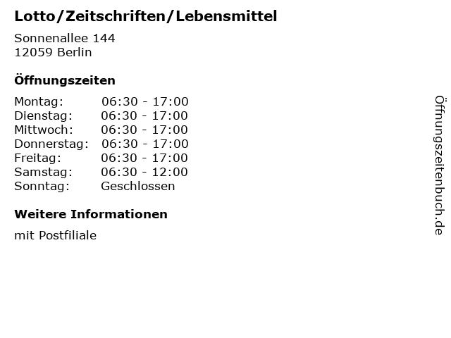 Lotto/Zeitschriften/Lebensmittel - Deutsche Post Filiale in Berlin: Adresse und Öffnungszeiten