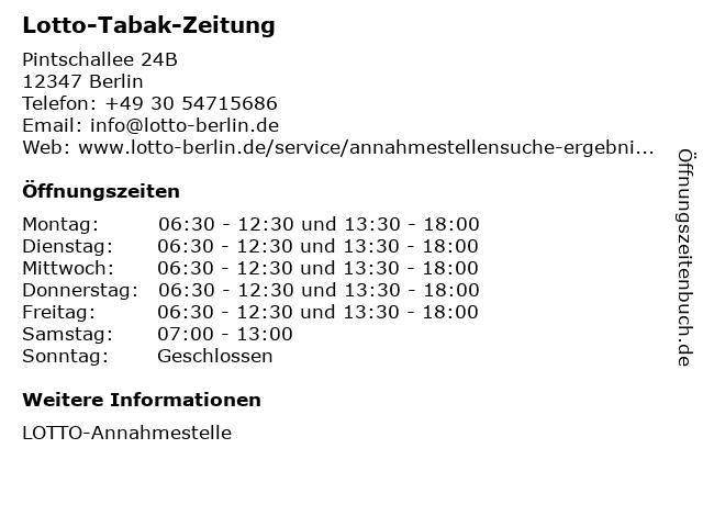 Lotto-Tabak-Zeitung in Berlin: Adresse und Öffnungszeiten