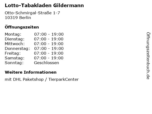 Lotto-Tabakladen Gildermann - DHL Paketshop in Berlin: Adresse und Öffnungszeiten
