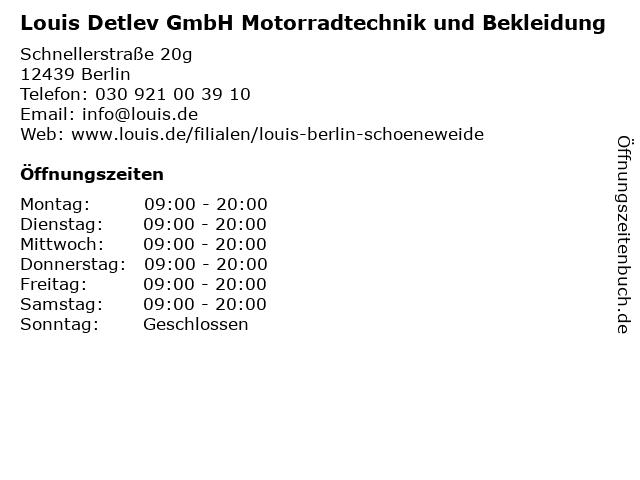 Louis Detlev GmbH Motorradtechnik und Bekleidung in Berlin: Adresse und Öffnungszeiten