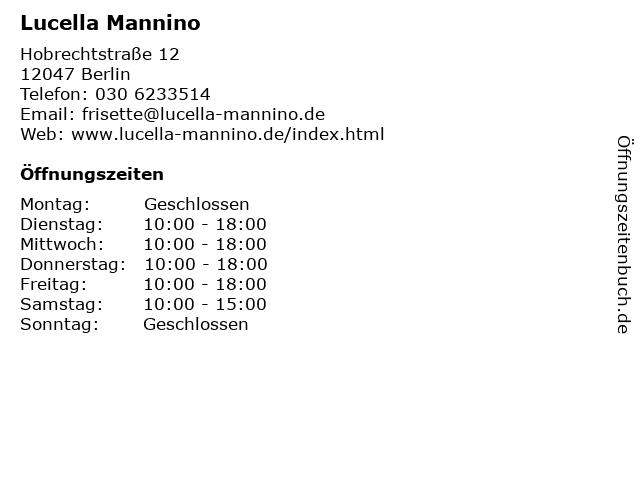 Lucella Mannino in Berlin: Adresse und Öffnungszeiten
