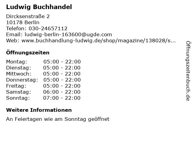 Ludwig Buchhandel in Berlin: Adresse und Öffnungszeiten