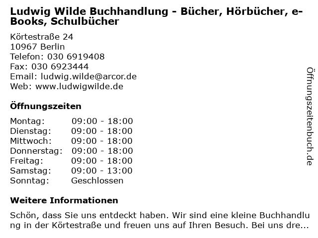 Ludwig Wilde Buchhandlung - Bücher, Hörbücher, e-Books, Schulbücher in Berlin: Adresse und Öffnungszeiten