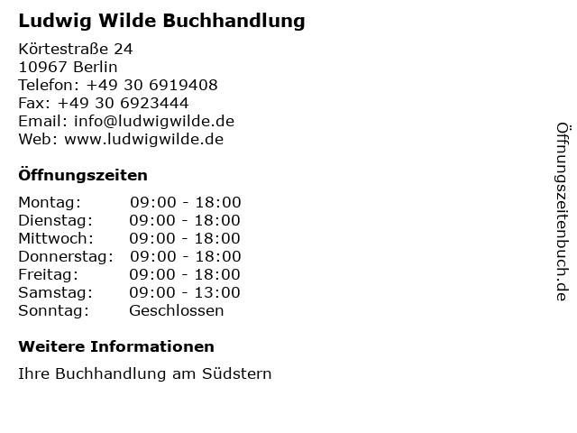 Ludwig Wilde Buchhandlung in Berlin: Adresse und Öffnungszeiten