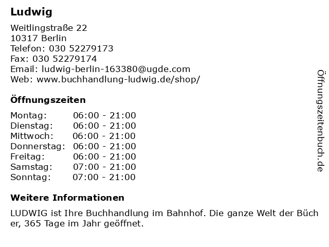 Ludwig in Berlin: Adresse und Öffnungszeiten