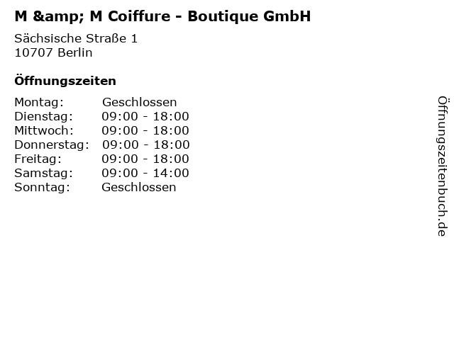 M & M Coiffure - Boutique GmbH in Berlin: Adresse und Öffnungszeiten