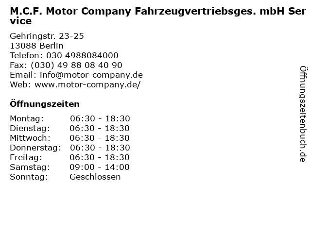 M.C.F. Motor Company Fahrzeugvertriebsges. mbH Service in Berlin: Adresse und Öffnungszeiten