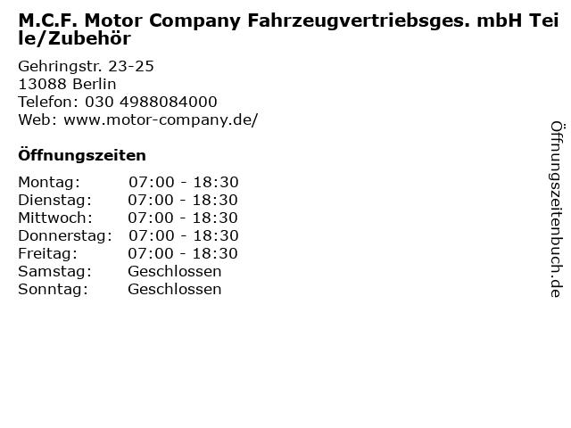 M.C.F. Motor Company Fahrzeugvertriebsges. mbH Teile/Zubehör in Berlin: Adresse und Öffnungszeiten