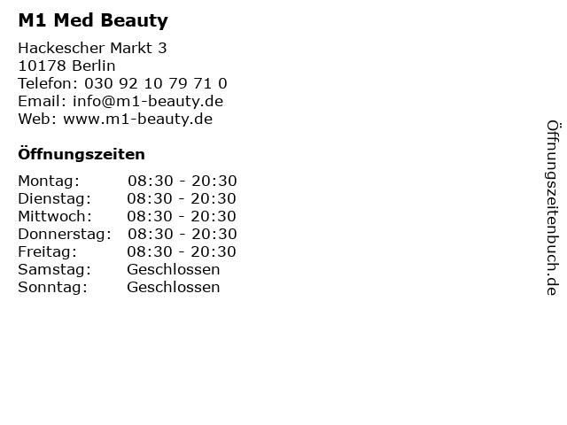 M1 Med Beauty in Berlin: Adresse und Öffnungszeiten