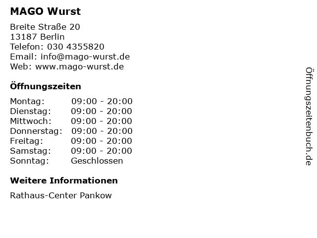 MAGO Wurst in Berlin: Adresse und Öffnungszeiten