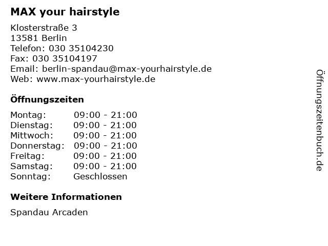 MAX your hairstyle in Berlin: Adresse und Öffnungszeiten