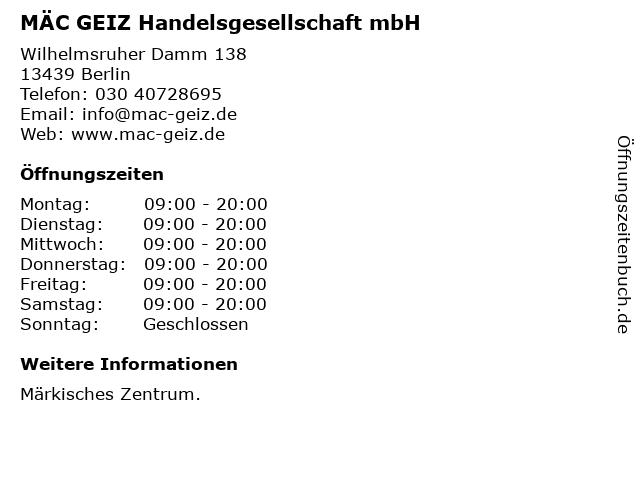 MÄC GEIZ Handelsgesellschaft mbH in Berlin: Adresse und Öffnungszeiten