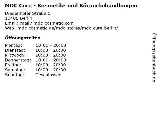 MDC Cure - Kosmetik- und Körperbehandlungen in Berlin: Adresse und Öffnungszeiten