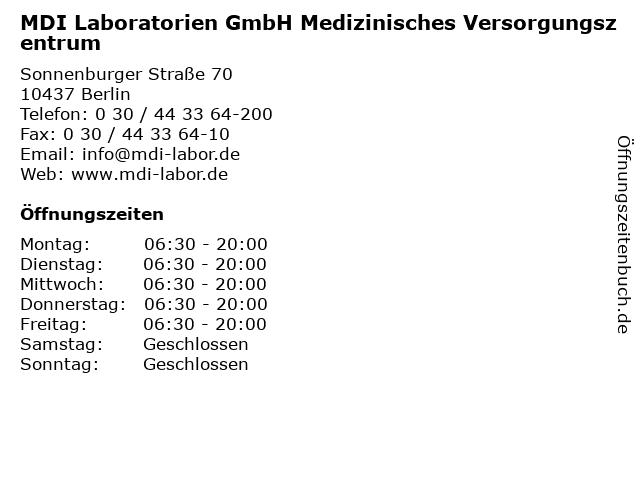 MDI Laboratorien GmbH Medizinisches Versorgungszentrum in Berlin: Adresse und Öffnungszeiten