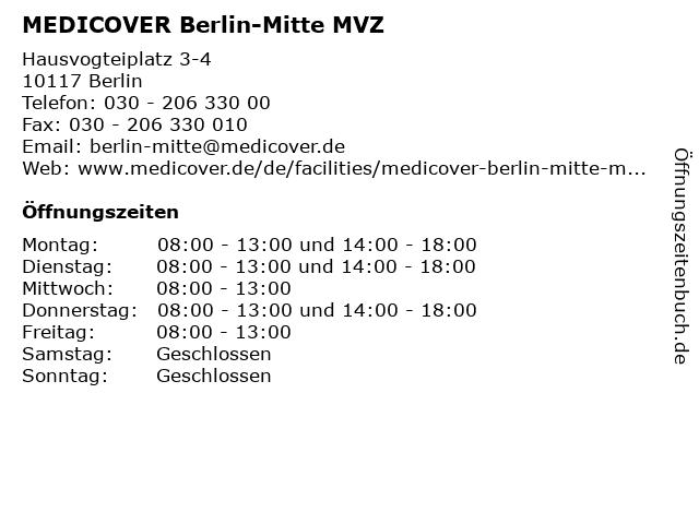 MEDICOVER Berlin-Mitte MVZ in Berlin: Adresse und Öffnungszeiten