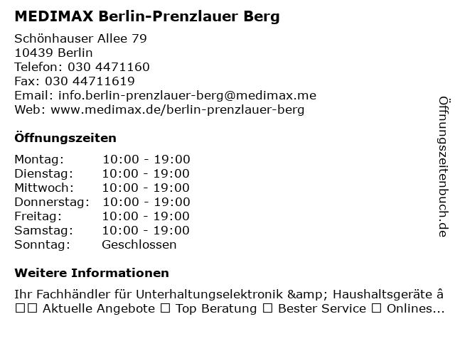 MEDIMAX Electronic Berlin-Prenzlauer Berg GmbH in Berlin: Adresse und Öffnungszeiten
