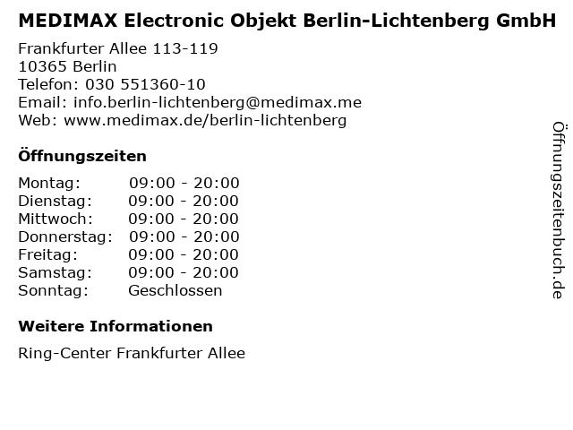 MEDIMAX Electronic Objekt Berlin-Lichtenberg GmbH in Berlin: Adresse und Öffnungszeiten