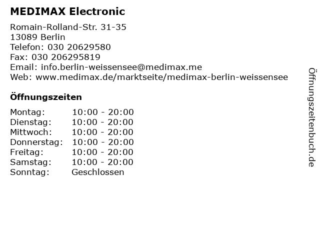 MEDIMAX Electronic in Berlin: Adresse und Öffnungszeiten