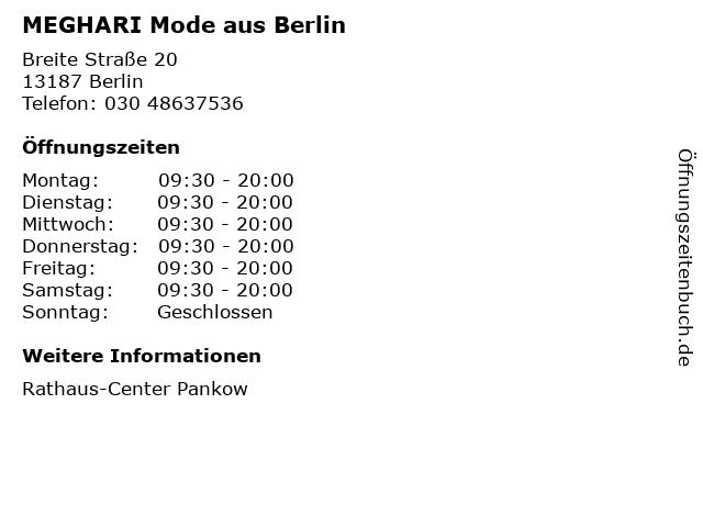 MEGHARI Mode aus Berlin in Berlin: Adresse und Öffnungszeiten