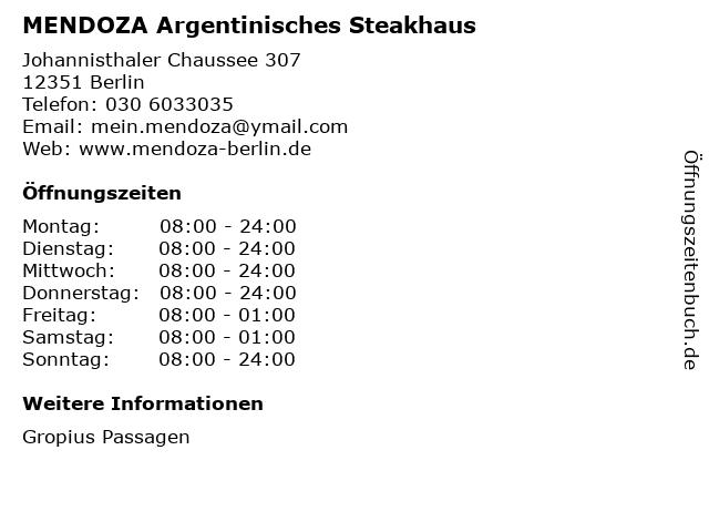 MENDOZA Argentinisches Steakhaus in Berlin: Adresse und Öffnungszeiten
