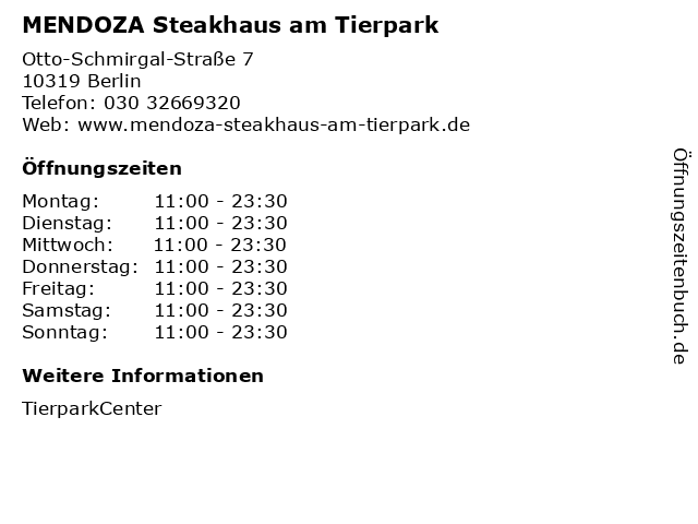 MENDOZA Steakhaus am Tierpark in Berlin: Adresse und Öffnungszeiten