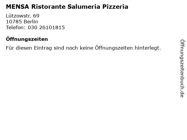 MENSA Ristorante Salumeria Pizzeria in Berlin: Adresse und Öffnungszeiten