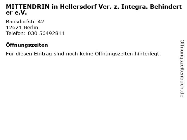 MITTENDRIN in Hellersdorf Ver. z. Integra. Behinderter e.V. in Berlin: Adresse und Öffnungszeiten