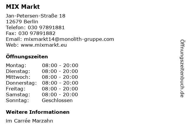 MIX Markt in Berlin: Adresse und Öffnungszeiten