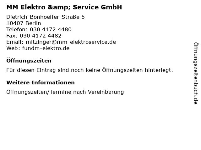 MM Elektro & Service GmbH in Berlin: Adresse und Öffnungszeiten
