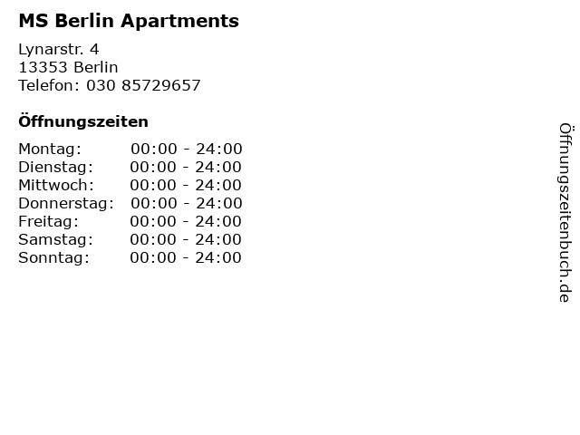MS Berlin Apartments in Berlin: Adresse und Öffnungszeiten
