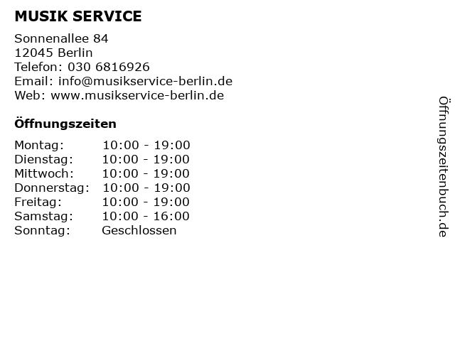 MUSIK SERVICE in Berlin: Adresse und Öffnungszeiten