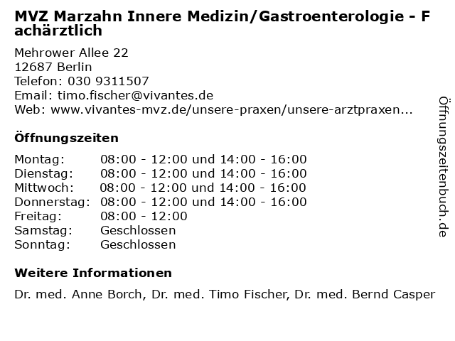 MVZ Marzahn Innere Medizin/Gastroenterologie - Fachärztlich in Berlin: Adresse und Öffnungszeiten
