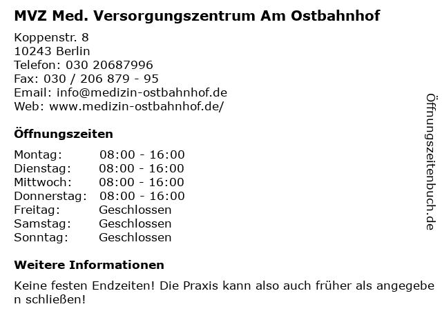 MVZ Med. Versorgungszentrum Am Ostbahnhof in Berlin: Adresse und Öffnungszeiten