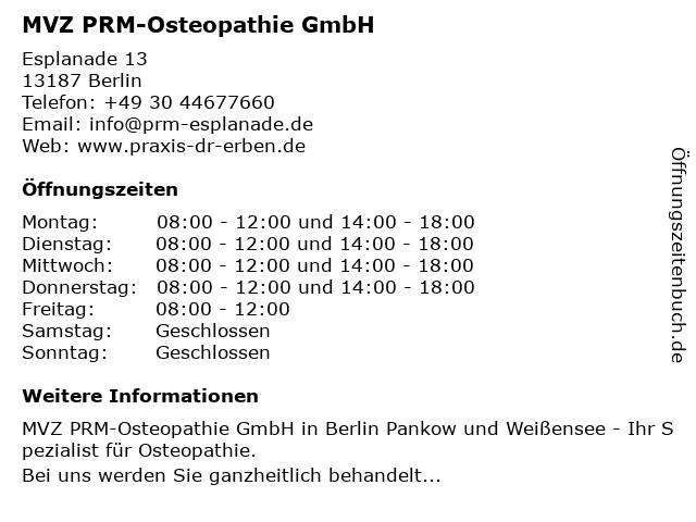 MVZ PRM-Osteopathie GmbH in Berlin: Adresse und Öffnungszeiten