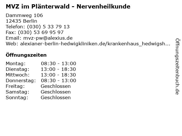 MVZ im Plänterwald - Nervenheilkunde in Berlin: Adresse und Öffnungszeiten