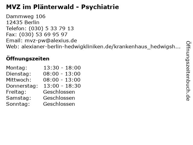 MVZ im Plänterwald - Psychiatrie in Berlin: Adresse und Öffnungszeiten