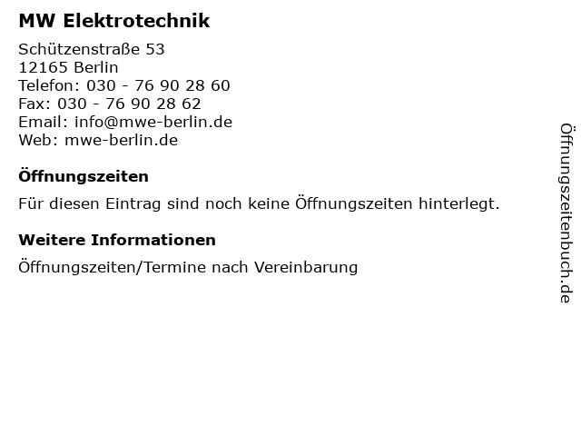 MW Elektrotechnik in Berlin: Adresse und Öffnungszeiten