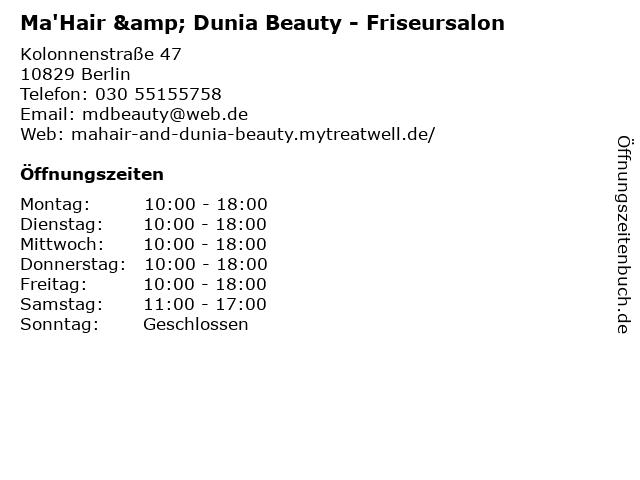 Ma'Hair & Dunia Beauty in Berlin: Adresse und Öffnungszeiten