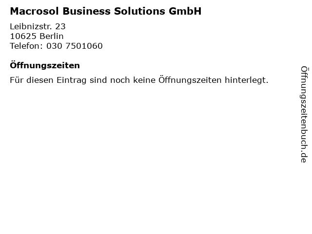 Macrosol Business Solutions GmbH in Berlin: Adresse und Öffnungszeiten