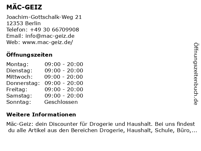 Mäc Geiz in Berlin: Adresse und Öffnungszeiten
