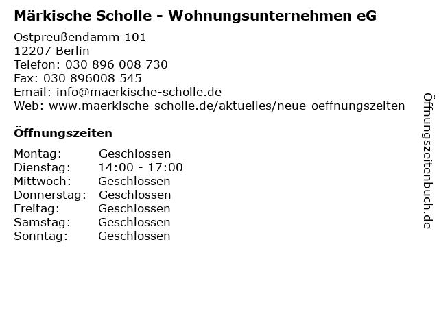 Märkische Scholle - Wohnungsunternehmen eG in Berlin: Adresse und Öffnungszeiten