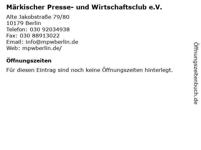 Märkischer Presse- und Wirtschaftsclub e.V. in Berlin: Adresse und Öffnungszeiten
