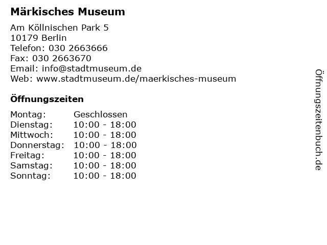 Märkisches Museum in Berlin: Adresse und Öffnungszeiten
