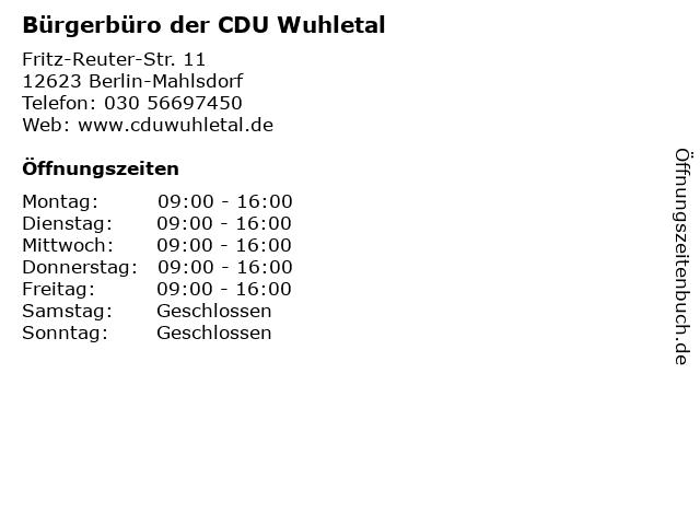 Bürgerbüro der CDU Wuhletal in Berlin-Mahlsdorf: Adresse und Öffnungszeiten