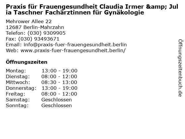 Praxis für Frauengesundheit Claudia Irmer & Julia Taschner Fachärztinnen für Gynäkologie in Berlin-Mahrzahn: Adresse und Öffnungszeiten
