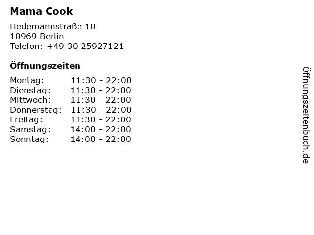 Mama Cook Restaurant in Berlin: Adresse und Öffnungszeiten