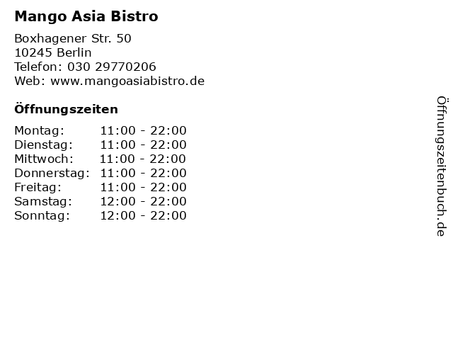 Mango Asia Bistro in Berlin: Adresse und Öffnungszeiten