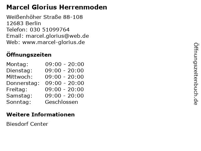 Marcel Glorius Herrenmoden in Berlin: Adresse und Öffnungszeiten